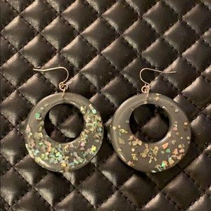 Free People Dark Glitter Resin Gypsy Hoop Earrings